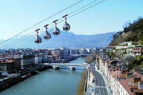 Cable car up to La Bastille, Grenoble